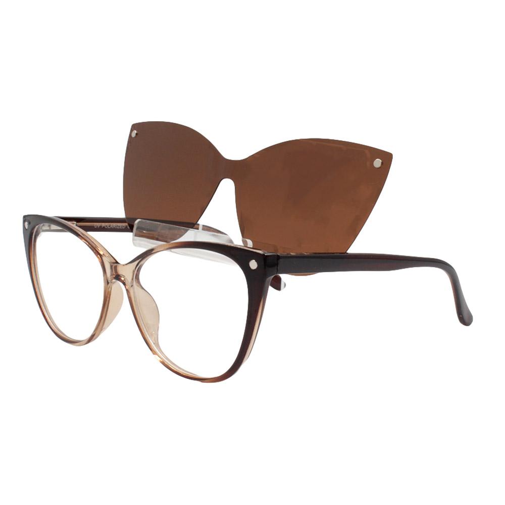 Armação para Óculos de Grau Feminino Clipon 2 em 1 OM5102 Marrom