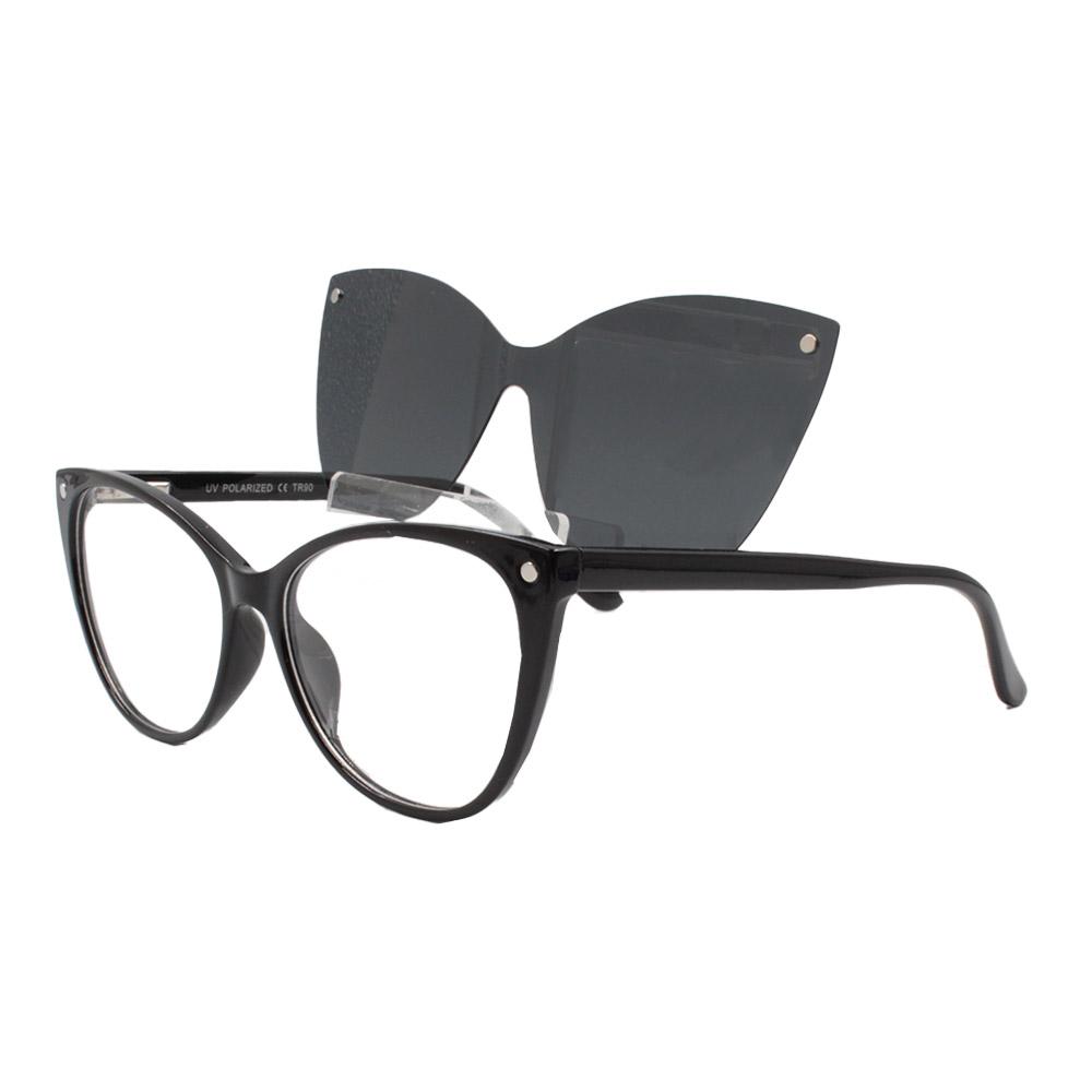Armação para Óculos de Grau Feminino Clipon 2 em 1 OM5102 Preta