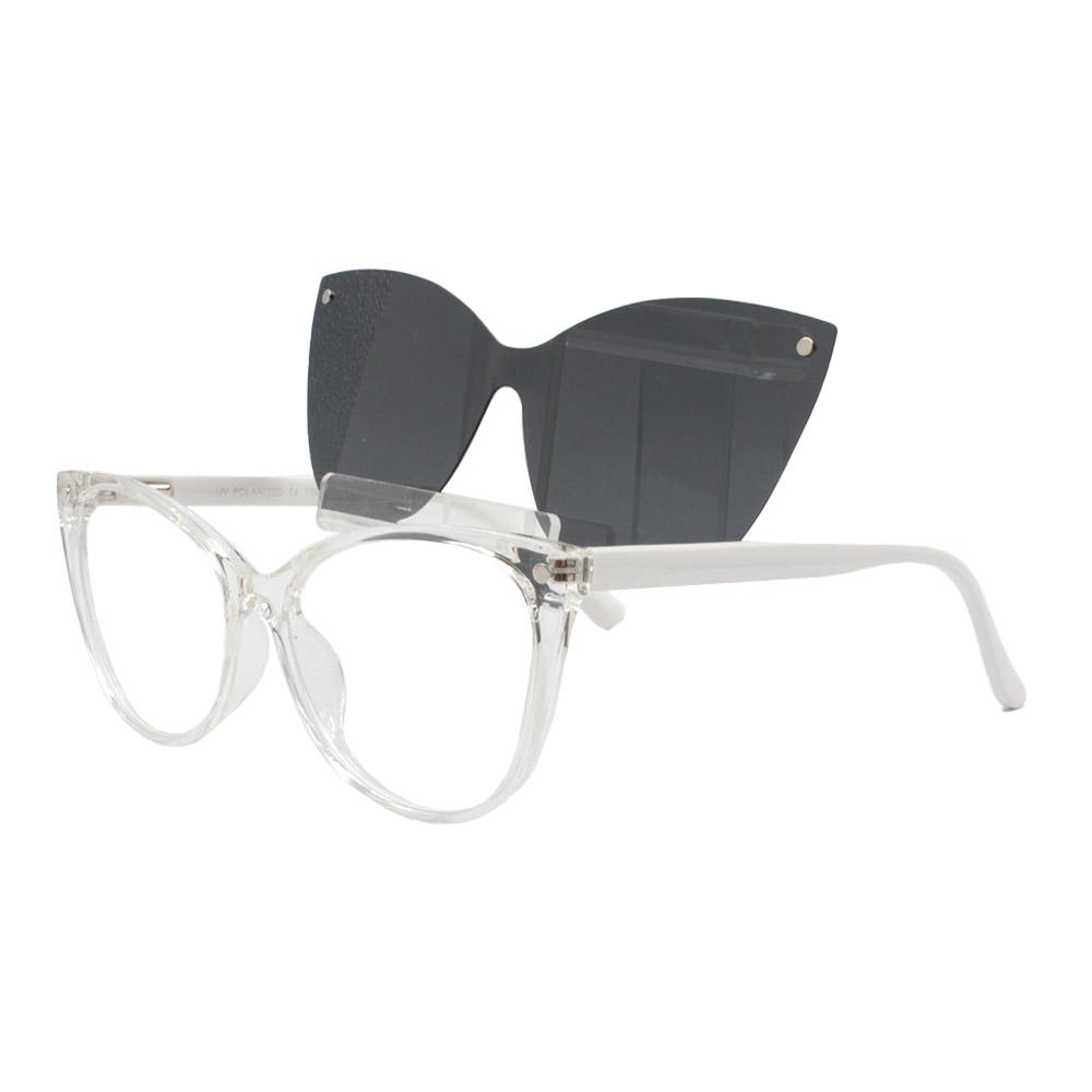 Armação para Óculos de Grau Feminino Clipon 2 em 1 OM5102 Transparente