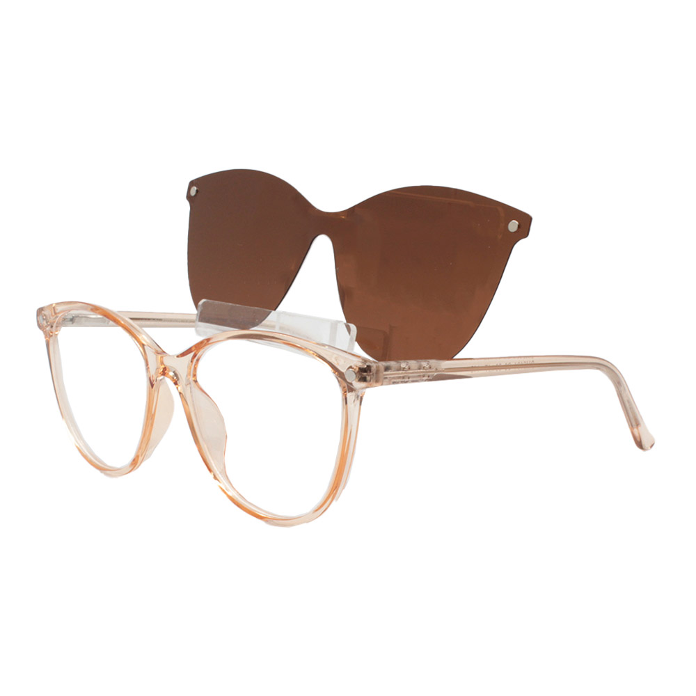 Armação para Óculos de Grau Feminino Clipon 2 em 1 OM5104 Laranja