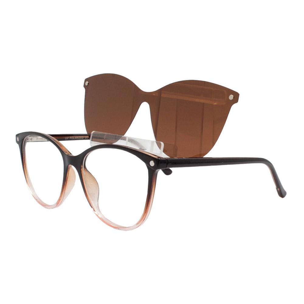 Armação para Óculos de Grau Feminino Clipon 2 em 1 OM5104 Marrom
