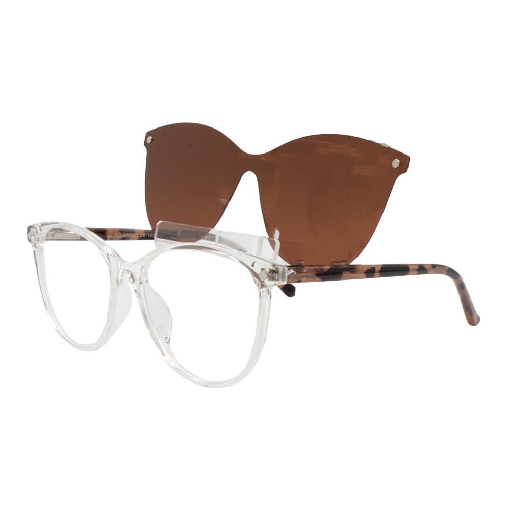 Armação para Óculos de Grau Feminino Clipon 2 em 1 OM5104 Transparente
