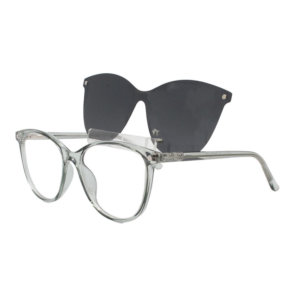 Armação para Óculos de Grau Feminino Clipon 2 em 1 OM5104 Verde