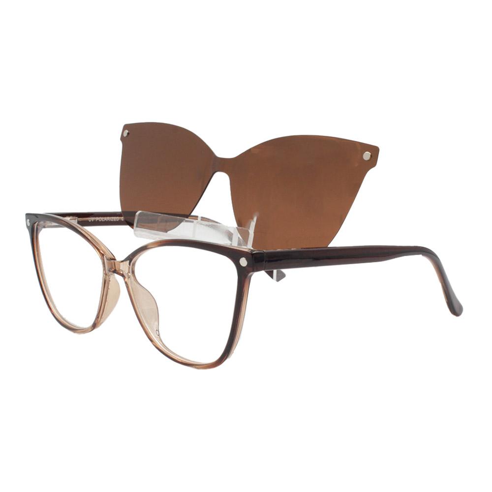 Armação para Óculos de Grau Feminino Clipon 2 em 1 OM5105 Marrom