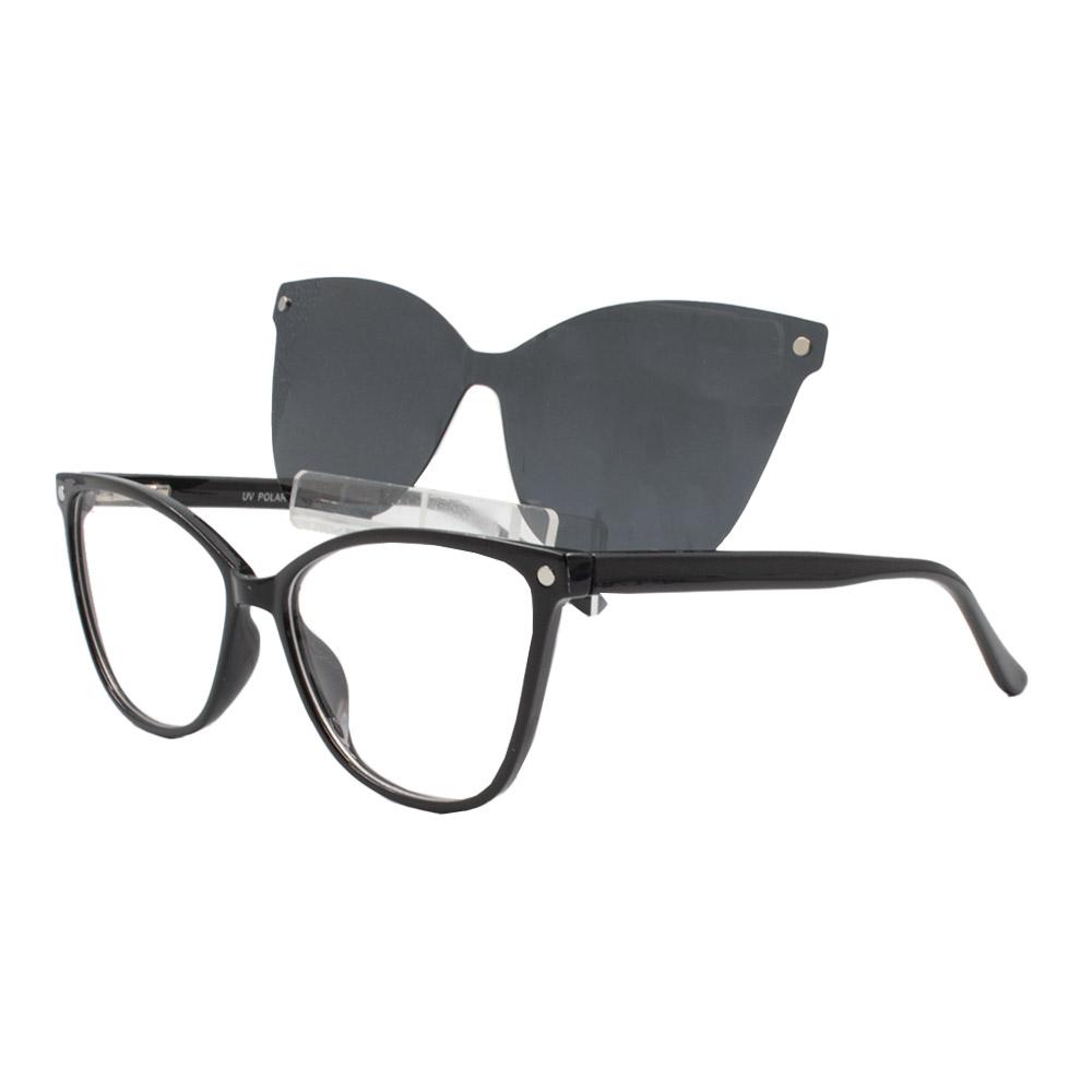 Armação para Óculos de Grau Feminino Clipon 2 em 1 OM5105 Preta