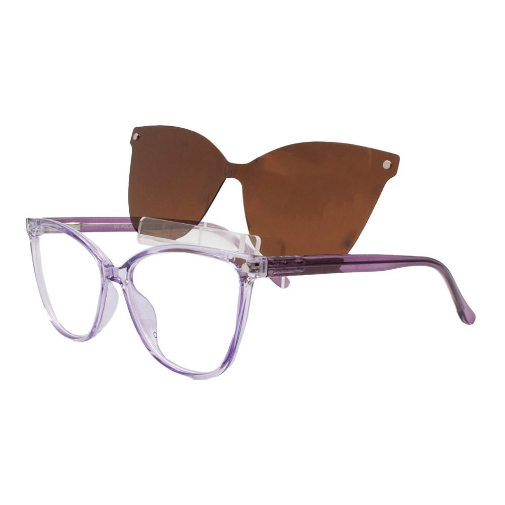 Armação para Óculos de Grau Feminino Clipon 2 em 1 OM5105 Roxa