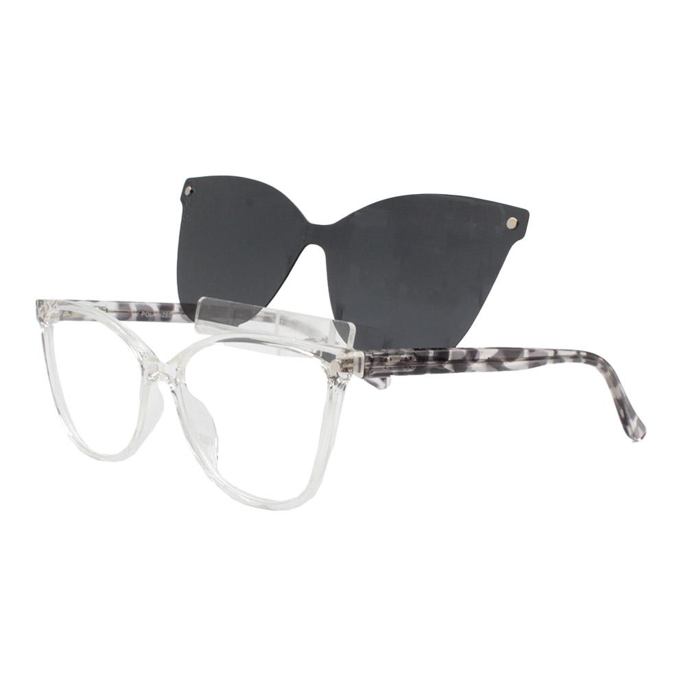 Armação para Óculos de Grau Feminino Clipon 2 em 1 OM5105 Transparente