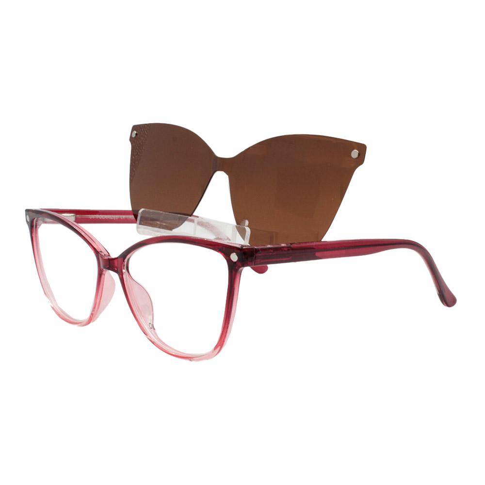 Armação para Óculos de Grau Feminino Clipon 2 em 1 OM5105 Vermelha