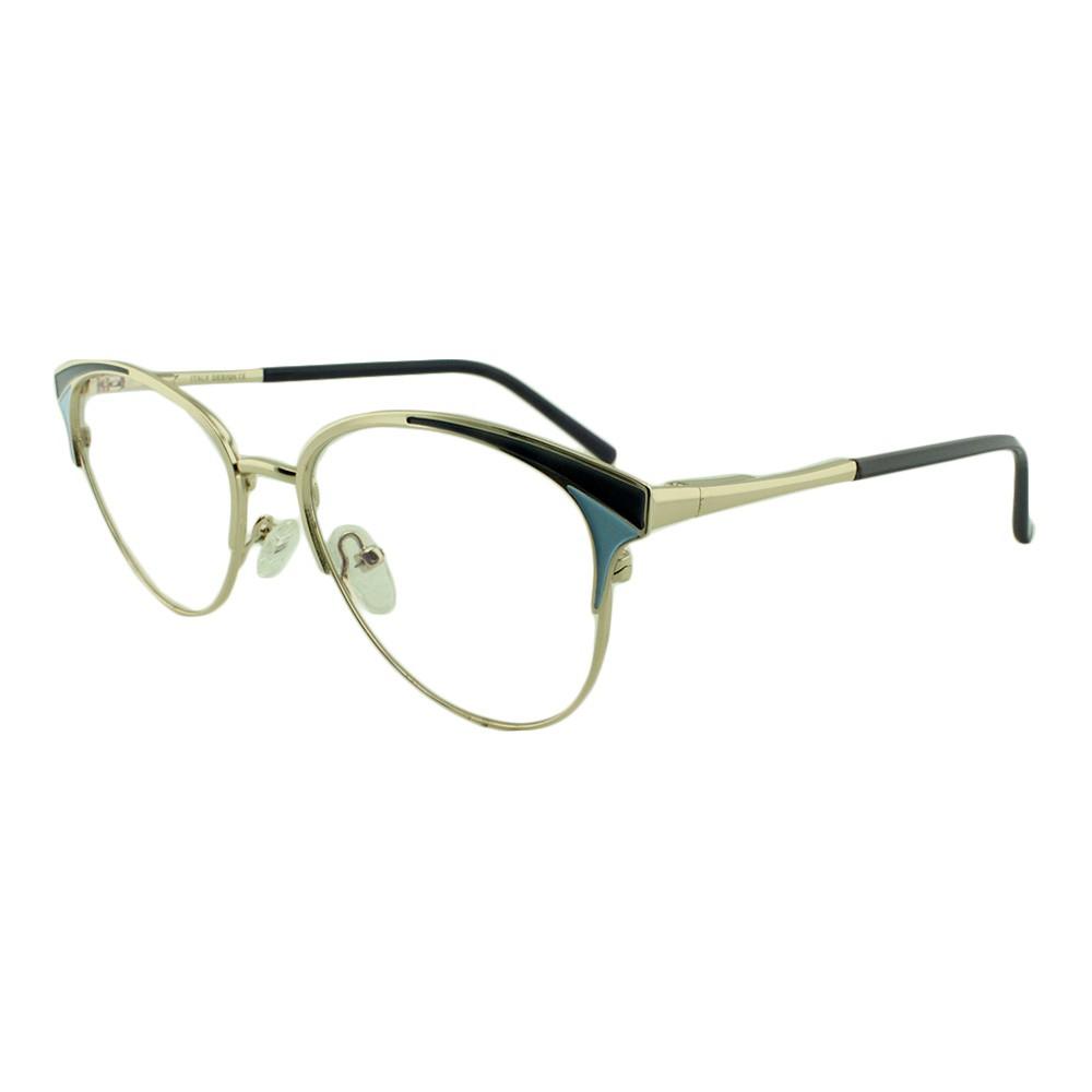 Armação para Óculos de Grau Feminino FY1108 Dourada e Azul