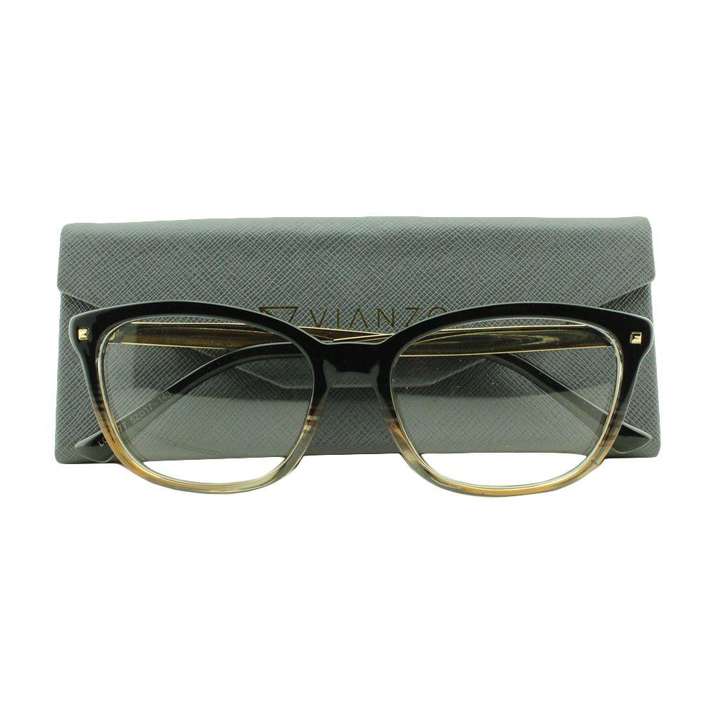 Armação para Óculos de Grau Feminino LQ95177 Preta Degradê com Estojo Vianzo