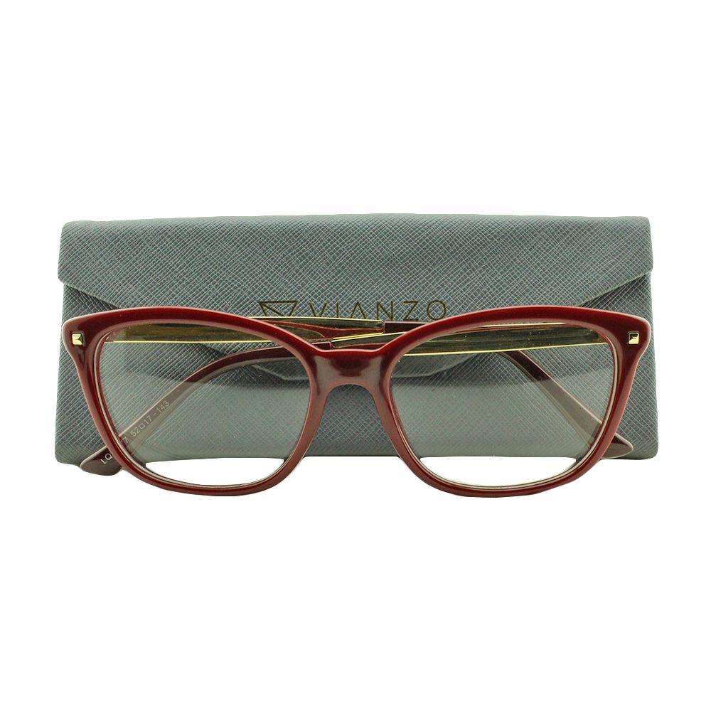 Armação para Óculos de Grau Feminino LQ95177 Vinho com Estojo Vianzo