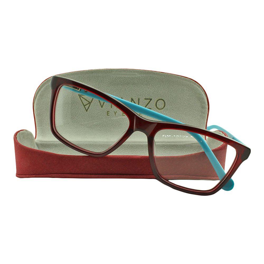 Armação para Óculos de Grau Feminino MMB1802 Vinho e Azul com Estojo Vianzo