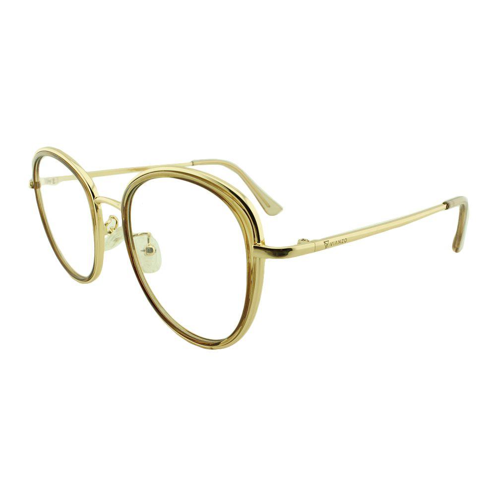 Armação para Óculos de Grau Feminino TR7192 Dourada e Caramelo Vianzo
