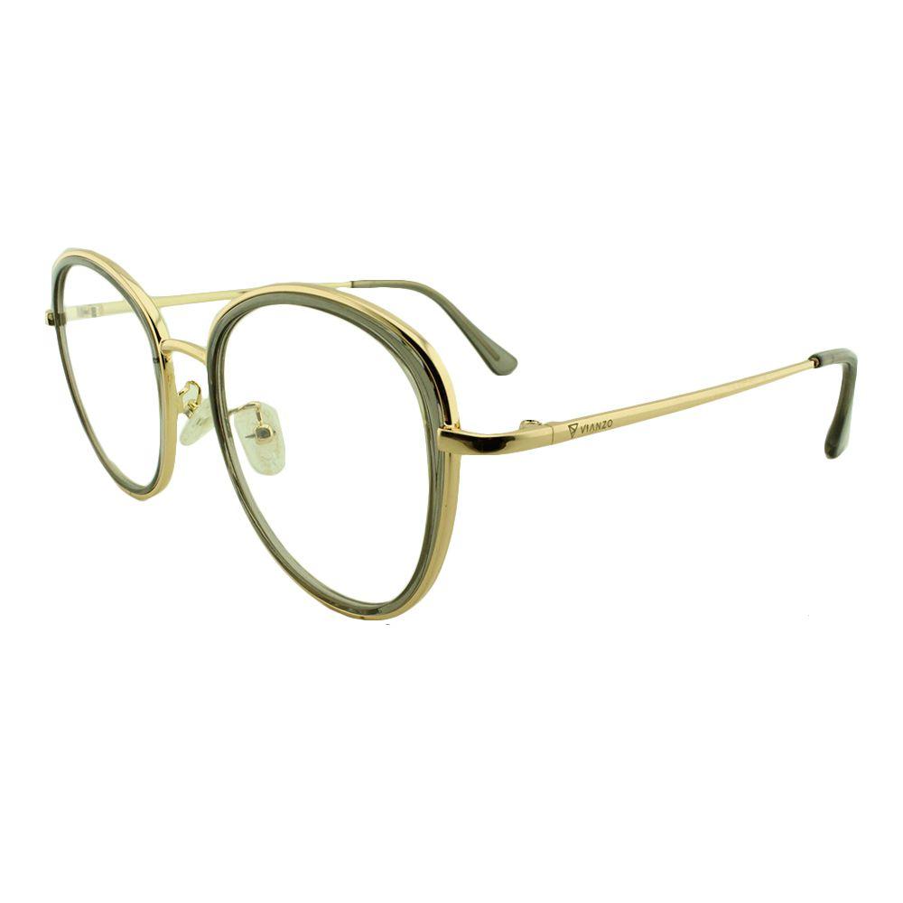 Armação para Óculos de Grau Feminino TR7192 Dourada e Fumê Vianzo