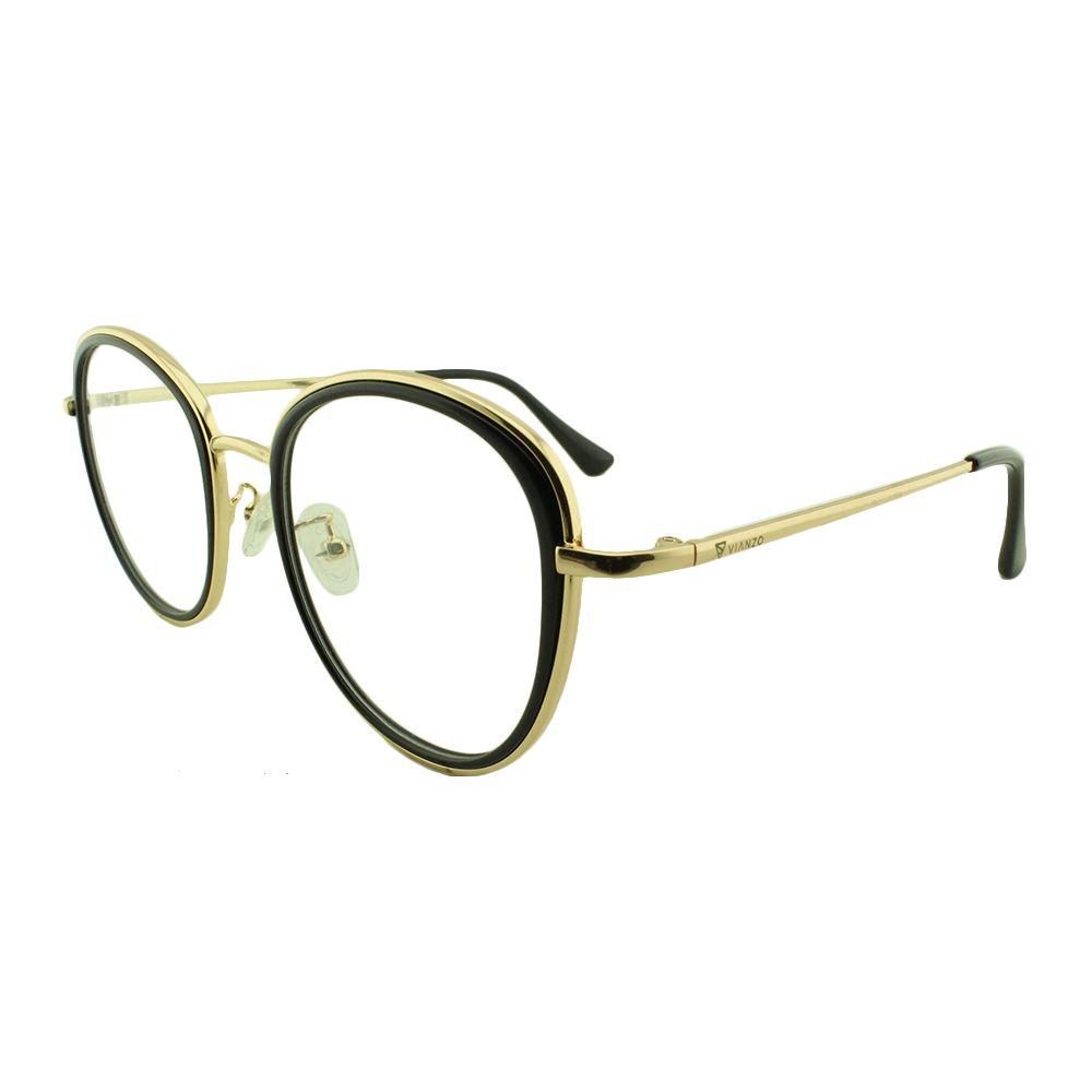 Armação para Óculos de Grau Feminino TR7192 Dourada e Preta Vianzo