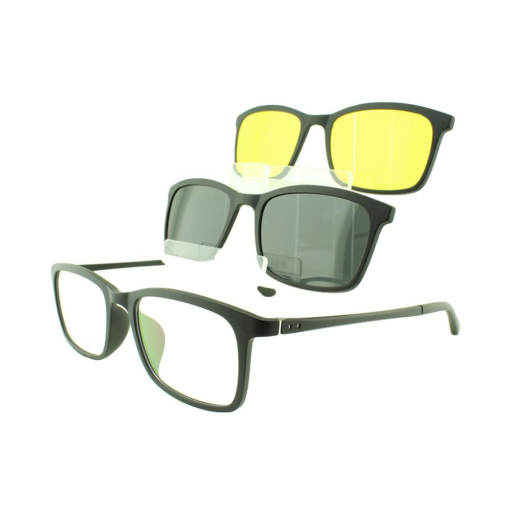 Armação para Óculos de Grau Masculino Clipon 3 em 1 3505 Preta