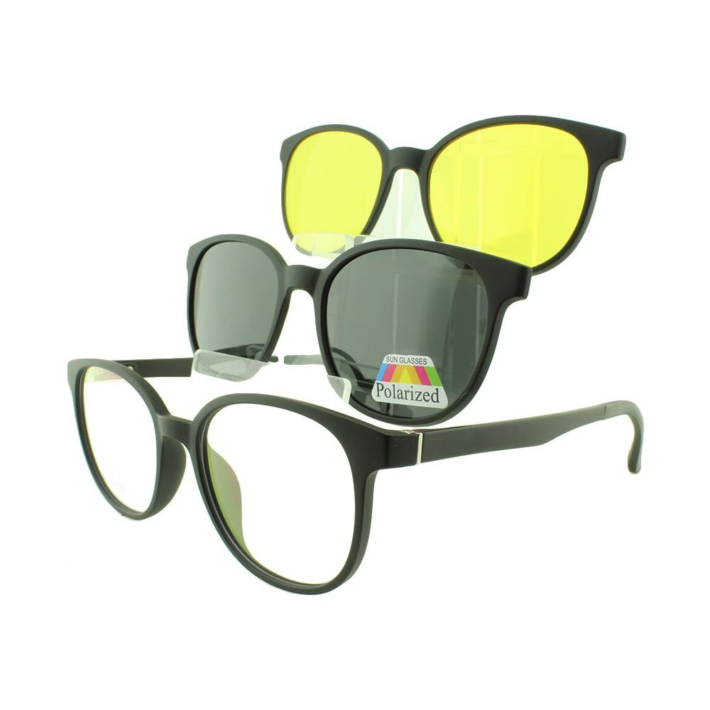 Armação para Óculos de Grau Masculino Clipon 3 em 1 3513 Preta
