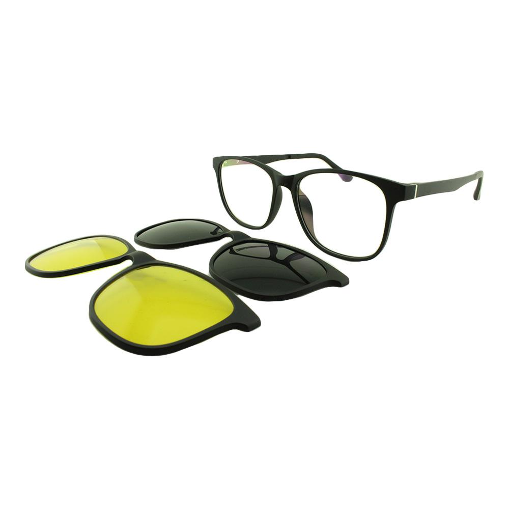 Armação para Óculos de Grau Masculino Clipon 3 em 1 3516 Preta