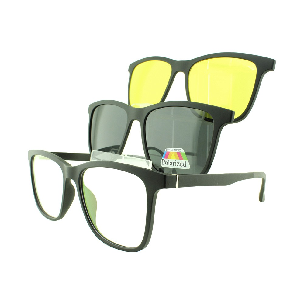 Armação para Óculos de Grau Masculino Clipon 3 em 1 3517 Preta