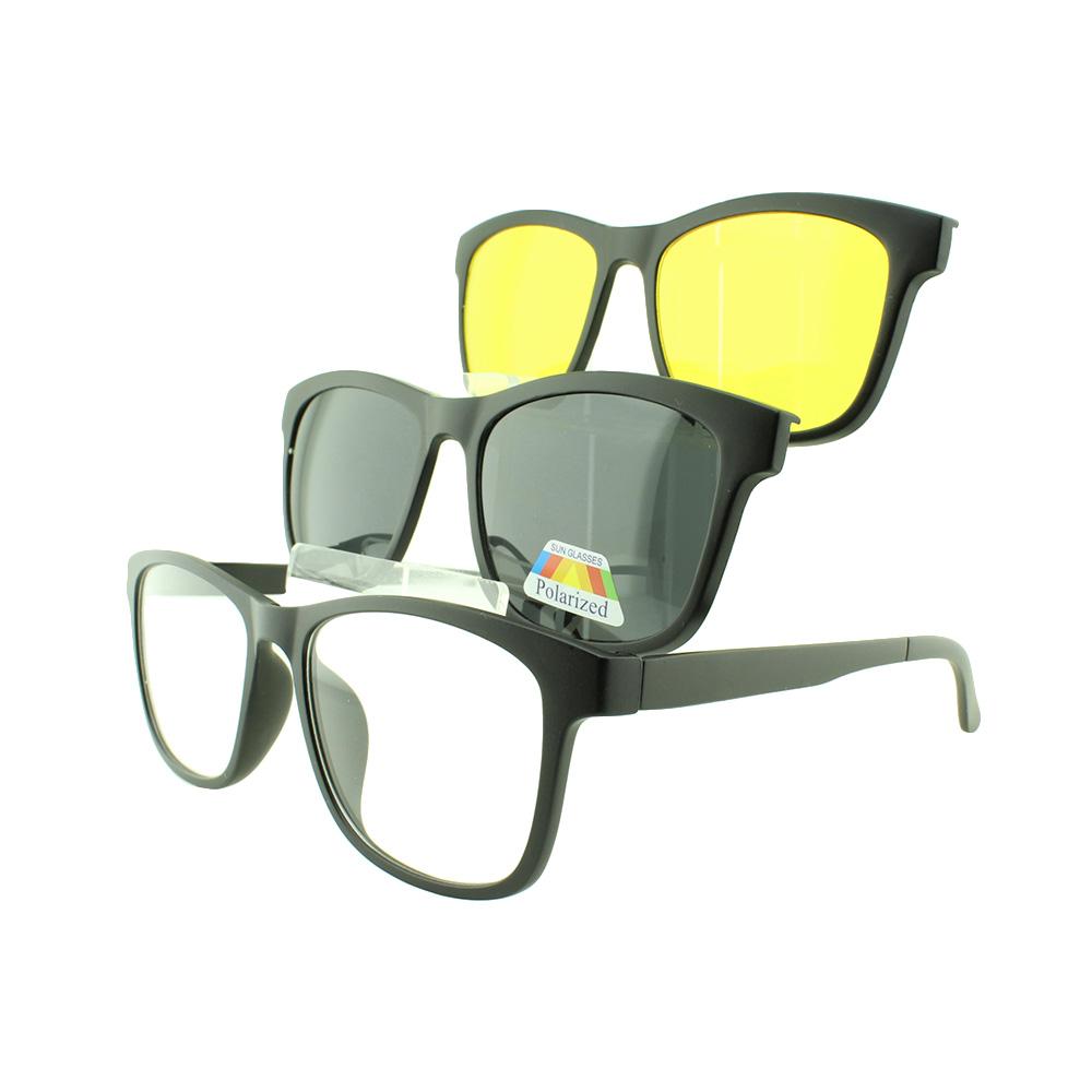 Armação para Óculos de Grau Masculino Clipon 3 em 1 TR2201 Preta