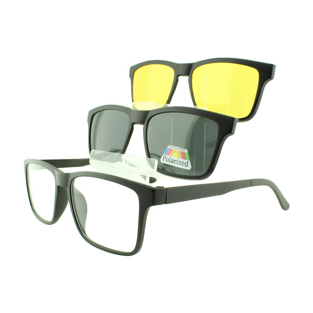 Armação para Óculos de Grau Masculino Clipon 3 em 1 TR2202 Preta