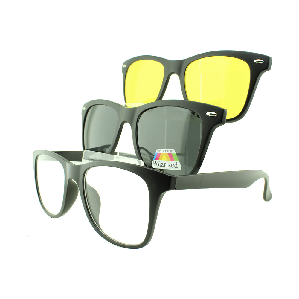 Armação para Óculos de Grau Masculino Clipon 3 em 1 TR2208 Preta