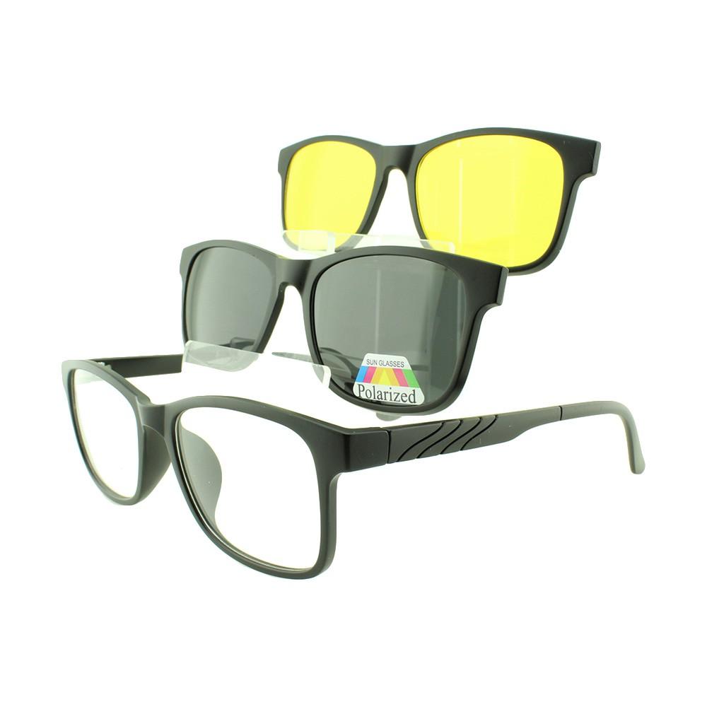 Armação para Óculos de Grau Masculino Clipon 3 em 1 TR2213 Preta