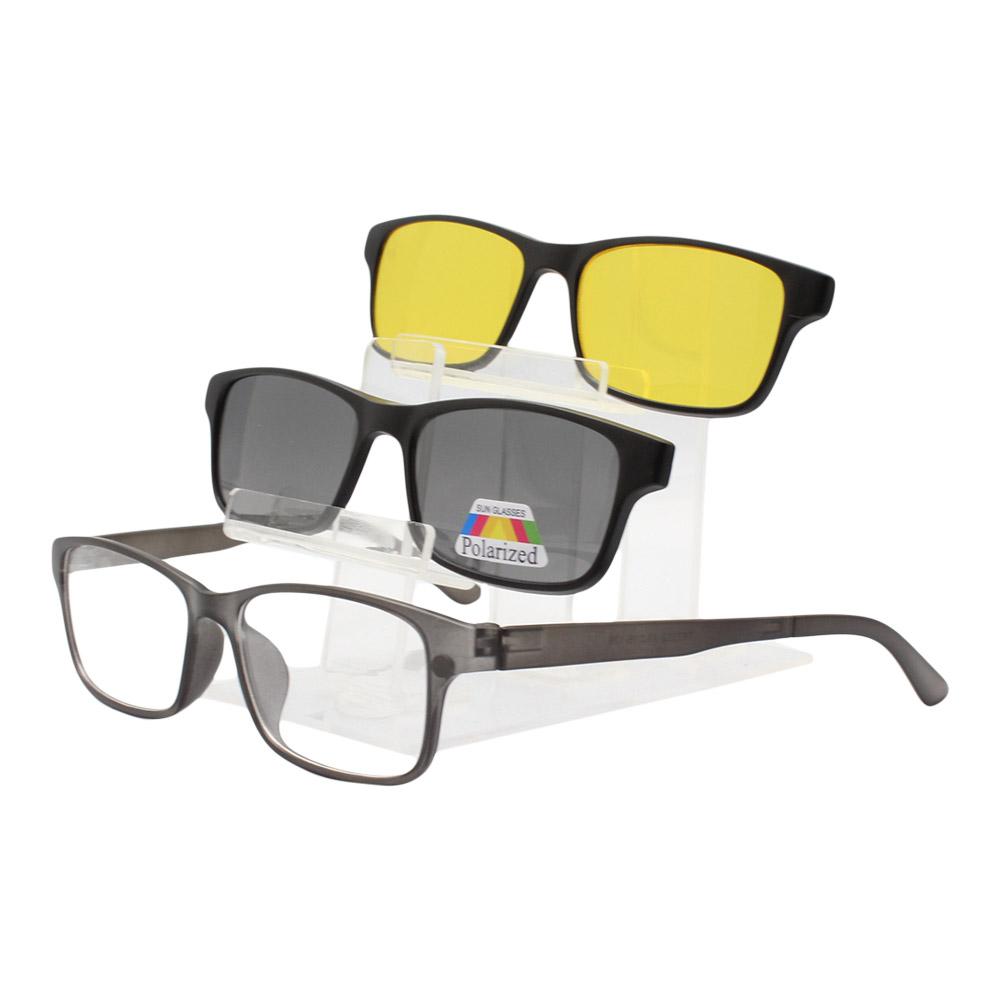 Armação para Óculos de Grau Masculino Clipon 3 em 1 TR2252 Preta