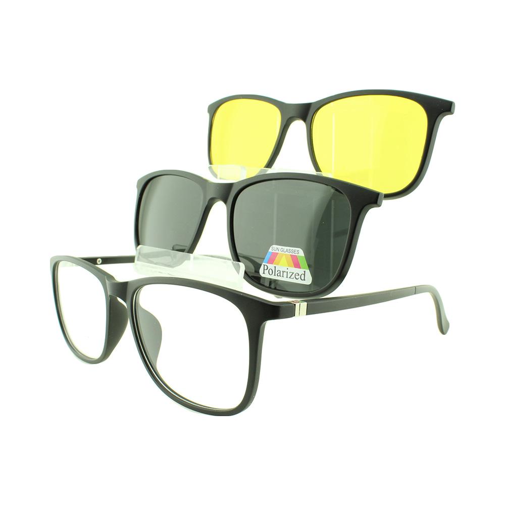 Armação para Óculos de Grau Masculino Clipon 3 em 1 TR2263 Preta