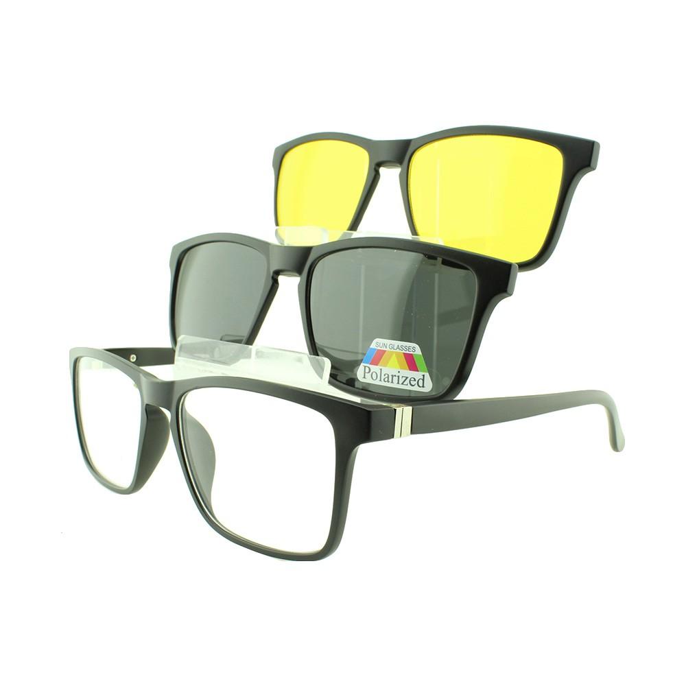 Armação para Óculos de Grau Masculino Clipon 3 em 1 TR2268 Preta