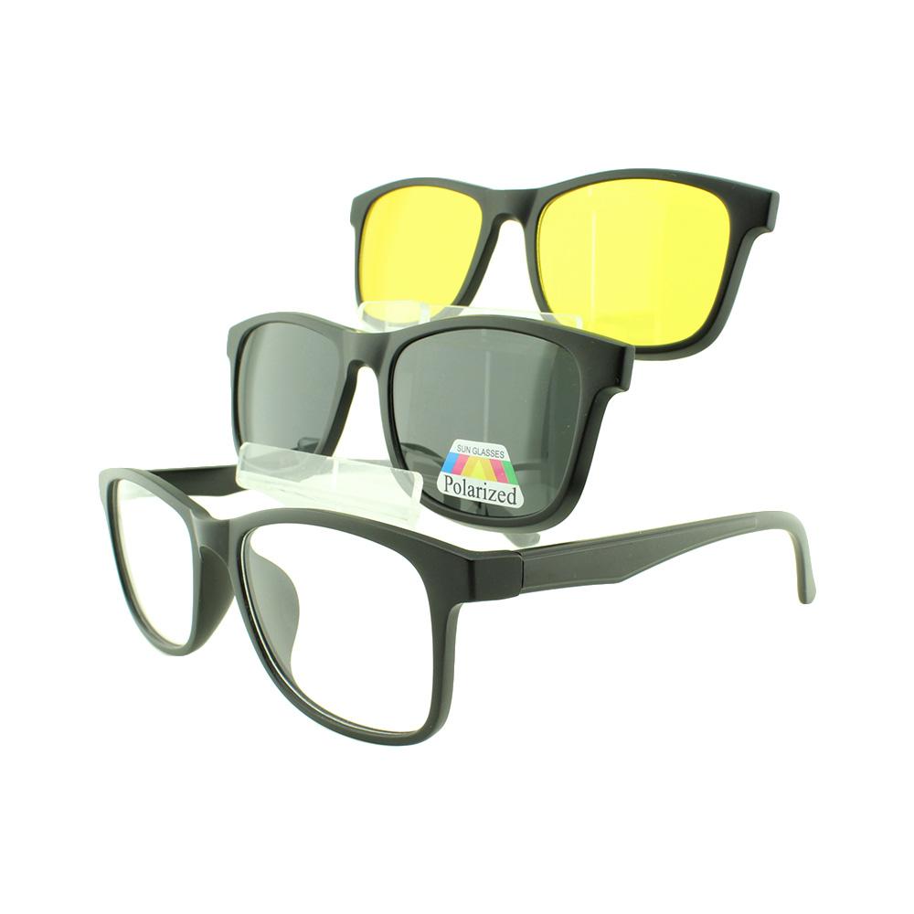 Armação para Óculos de Grau Masculino Clipon 3 em 1 TR2291 Preta