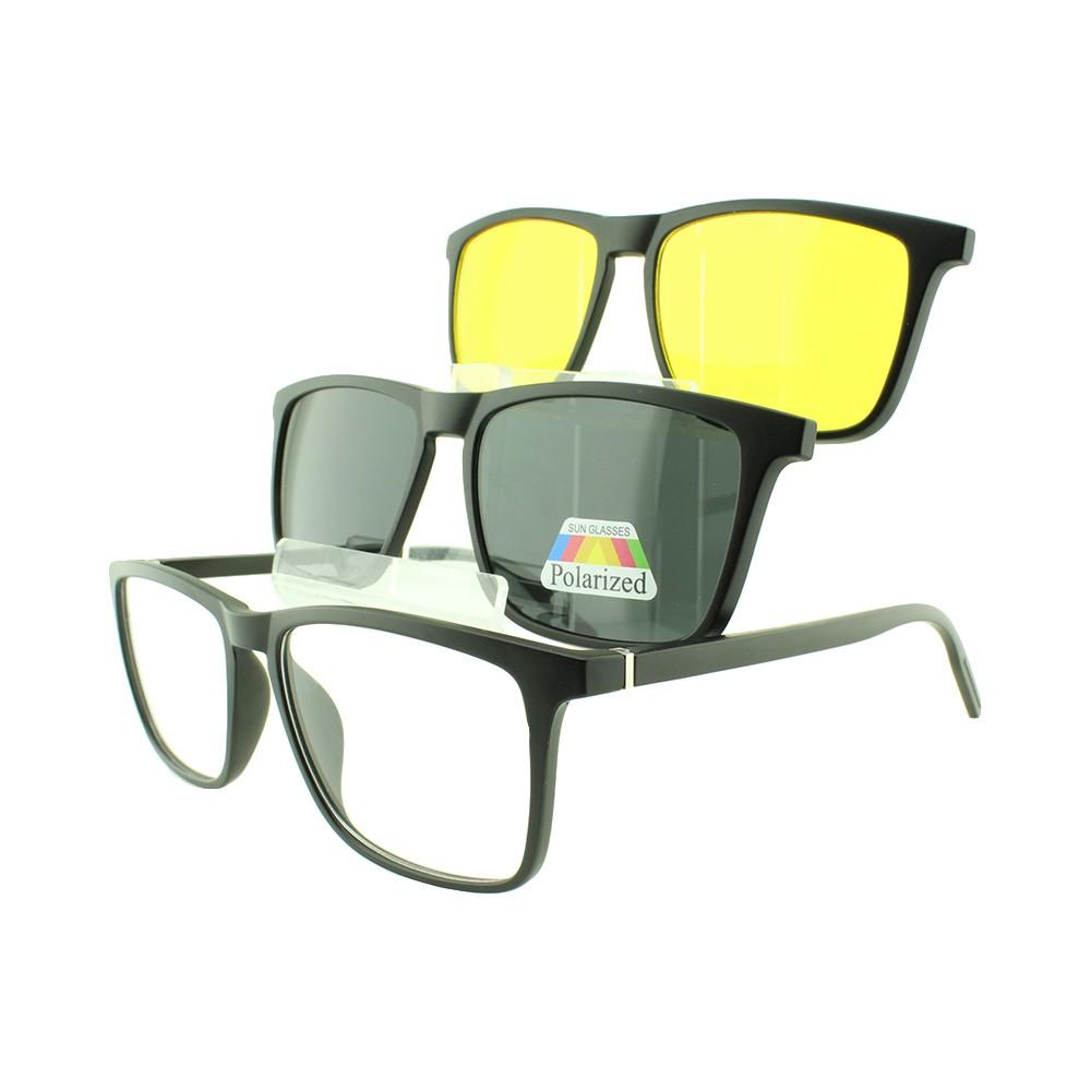 Armação para Óculos de Grau Masculino Clipon 3 em 1 TR2298 Preta