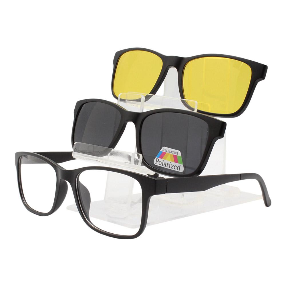 Armação para Óculos de Grau Masculino Clipon 3 em 1 TR2303 PReta