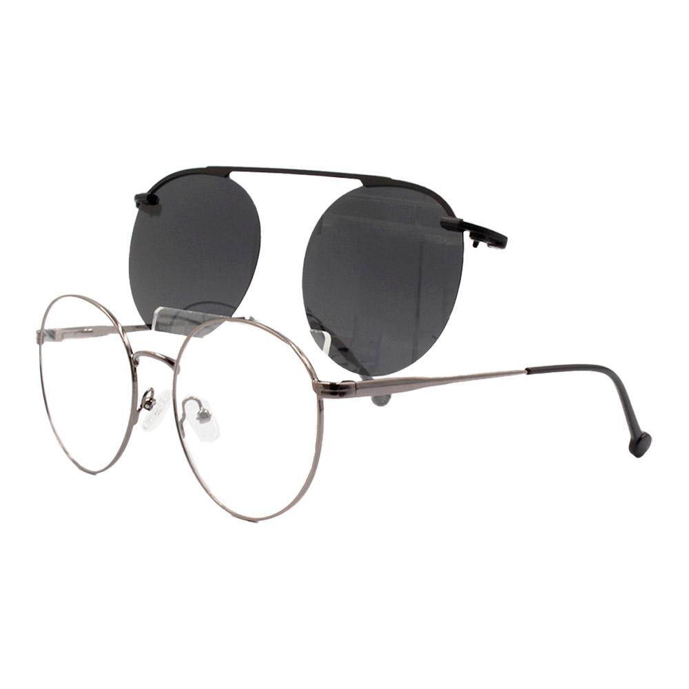 Armação para Óculos de Grau Unissex Clipon 2 em 1 YC8014 Grafite