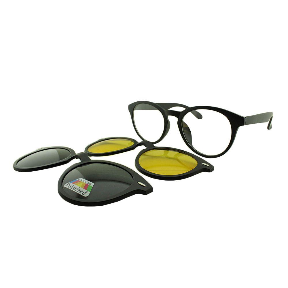 Armação para Óculos de Grau Unissex Clipon 3 em 1 TR2205 Preta