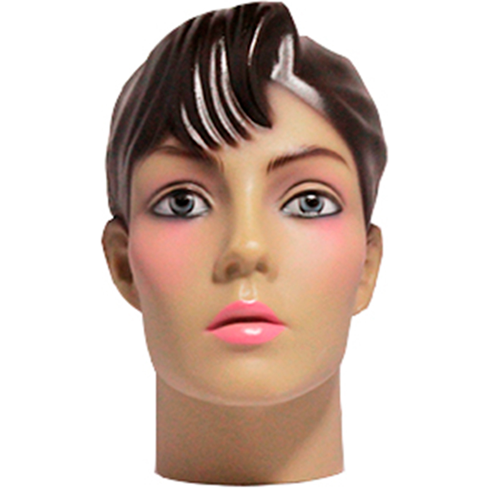 Cabeça Manequim Expositor Feminino Maquiada em PVC E-01 MCM