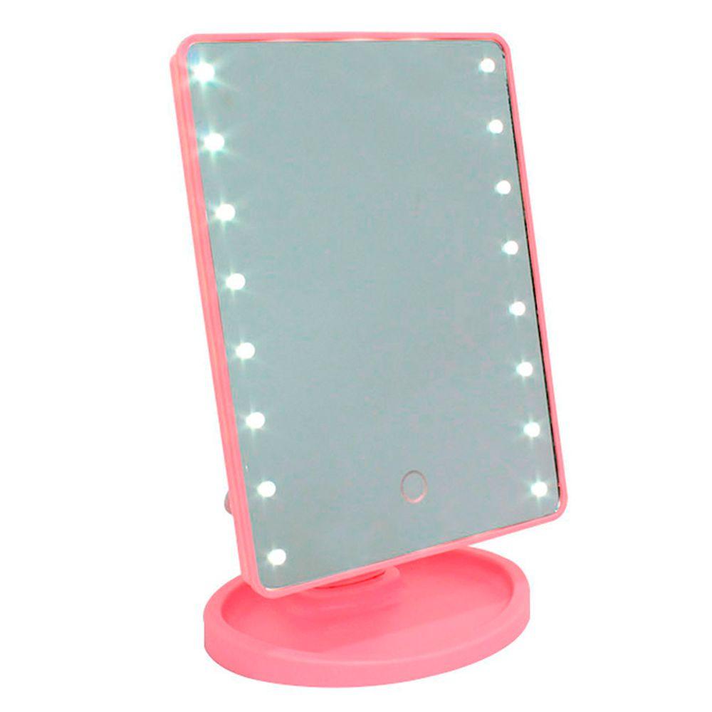 Espelho Retangular com 16 LEDS e Interruptor Smart Touch LED16 Rosa