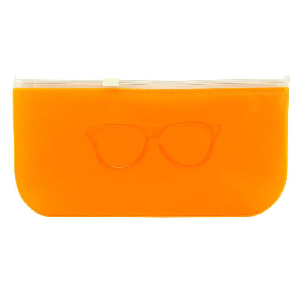 Estojo para Óculos em Relevo com ZipLock 009T Laranja Fosco