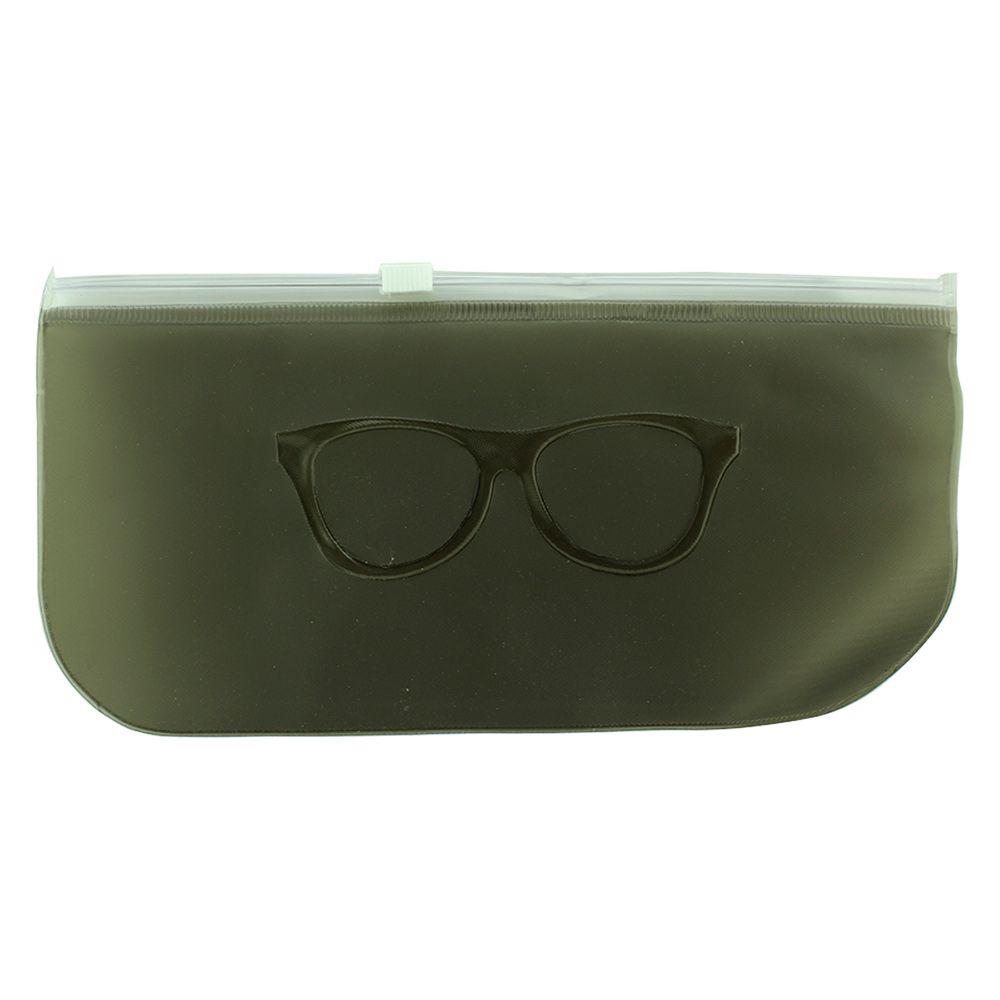 Estojo para Óculos em Relevo com ZipLock 009T Preto Fosco