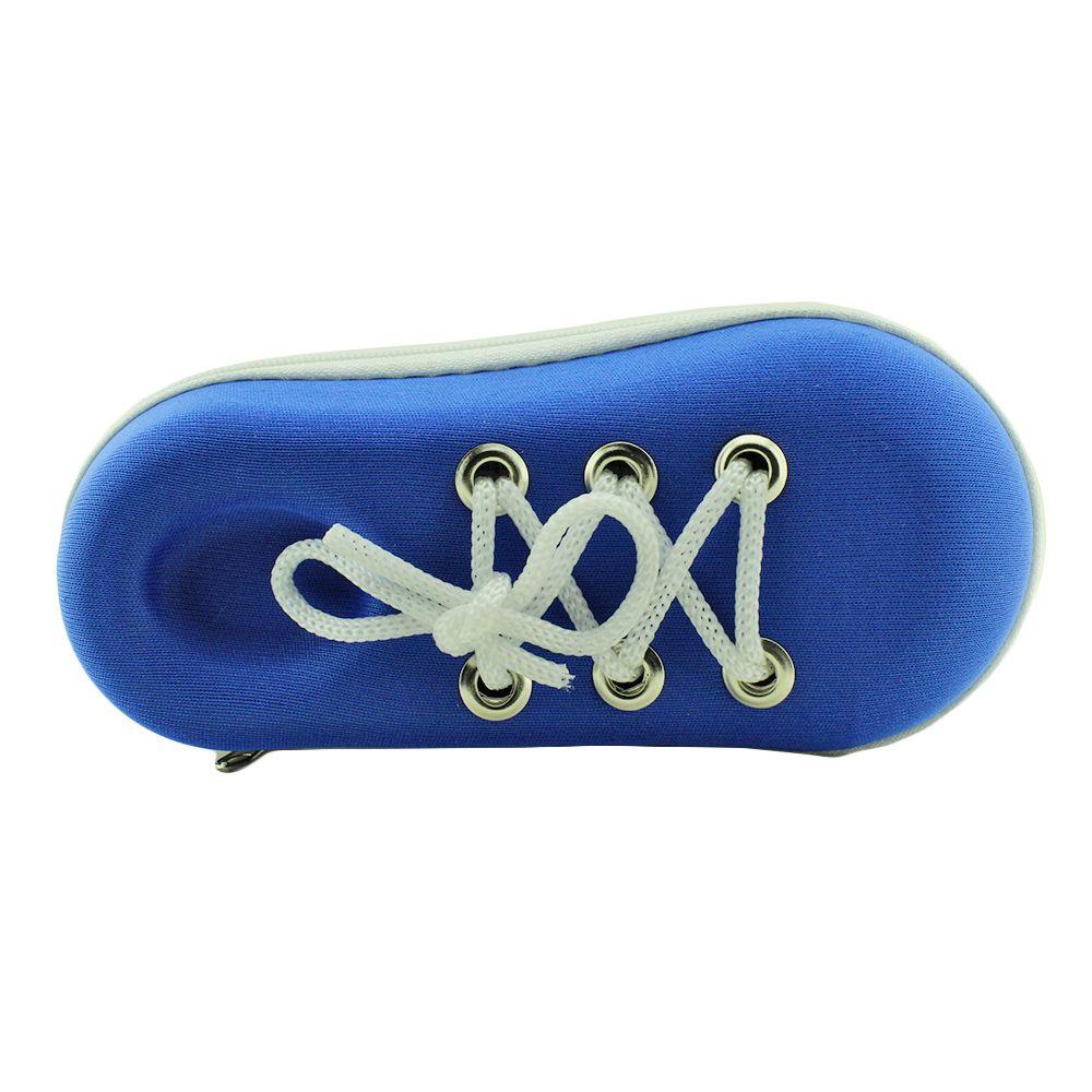 Estojo para Óculos Solar Infantil com Zíper M185 Azul e Branco