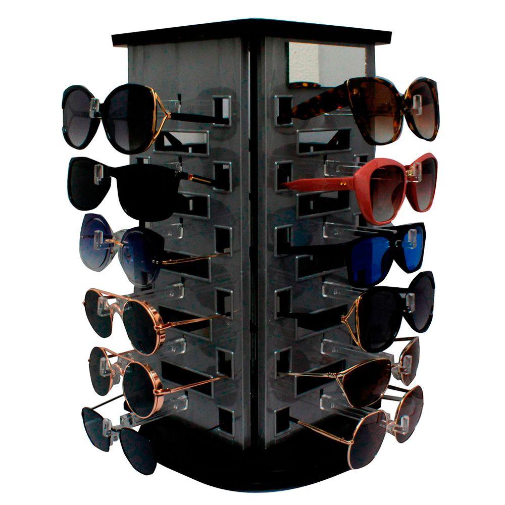 Expositor Giratório para 24 Óculos em Acrílico com Espelhos EP24 Prata