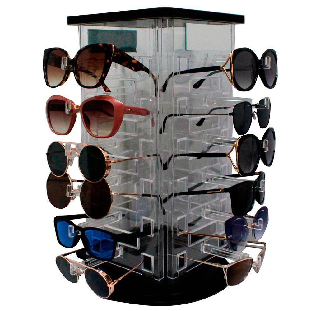 Expositor Giratório para 24 Óculos em Acrílico com Espelhos EP24 Transparente