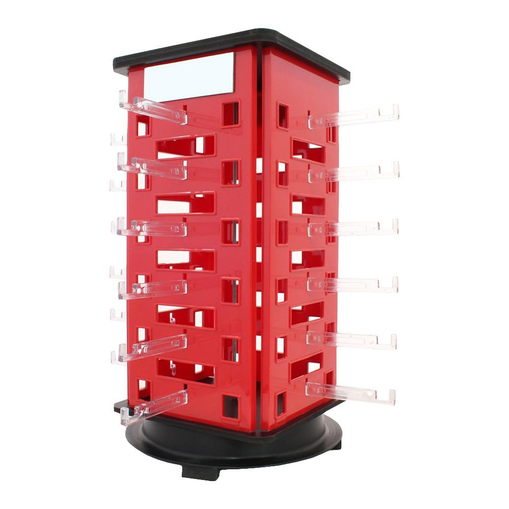 Expositor Giratório para 24 Óculos em Acrílico com Espelhos EP24 Vermelho