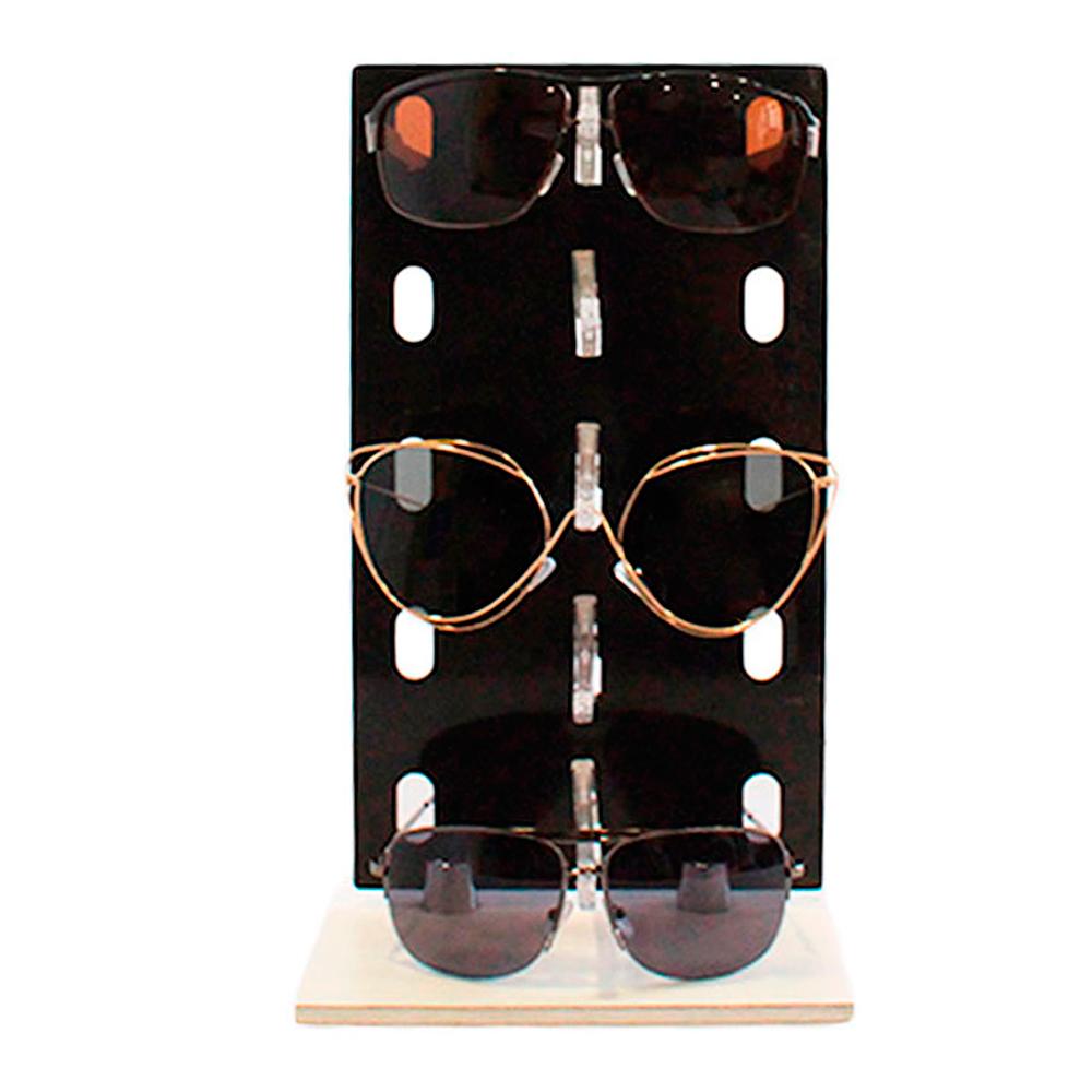 Expositor para 5 Óculos em Acrílico e MDF P5INJ Preto