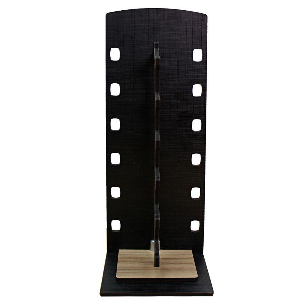 Expositor Torre para 6 Óculos em MDF GOLD6 Preto com Marrom