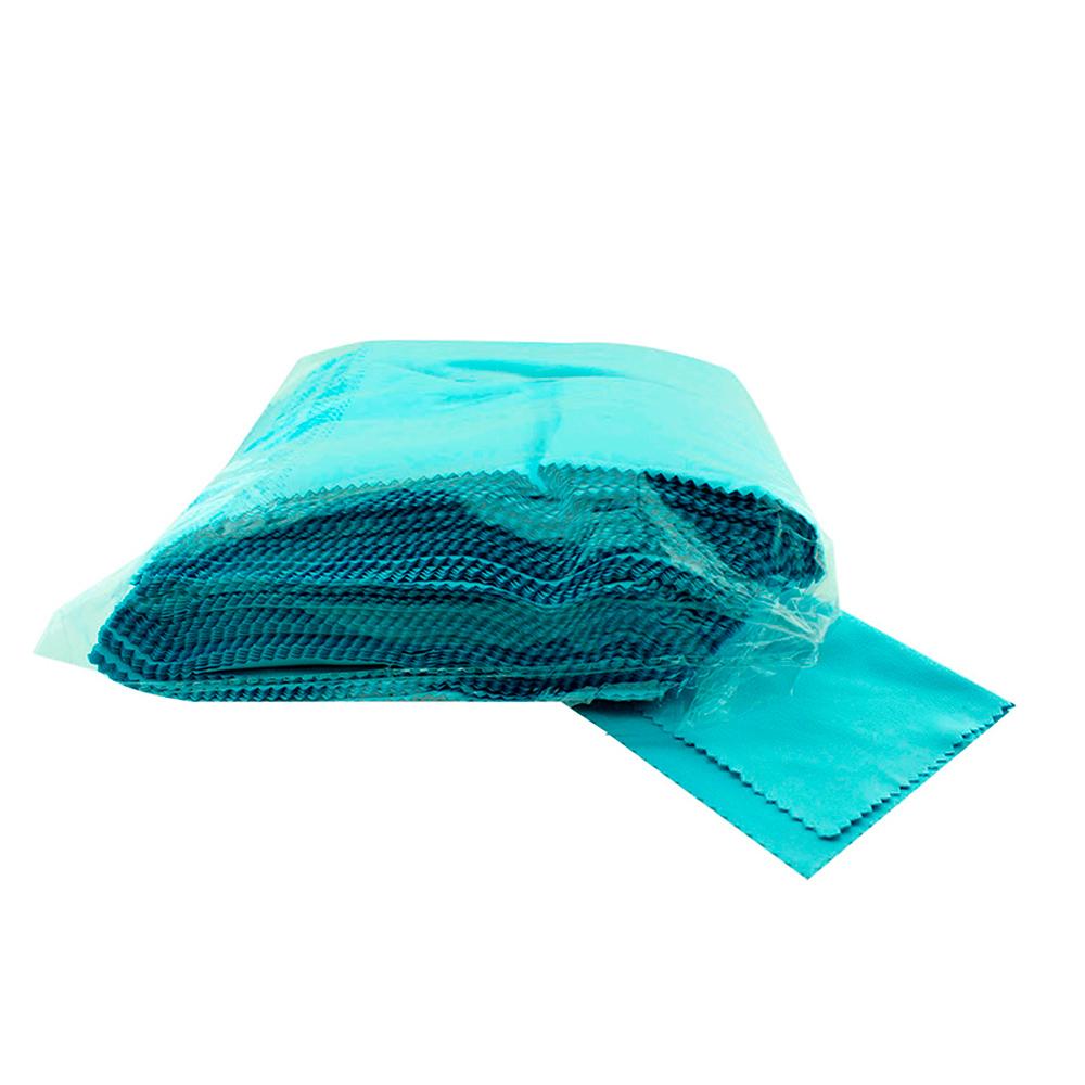 Flanela para Limpeza de Óculos em Microfibra 1234FM Azul com 100 Unidades
