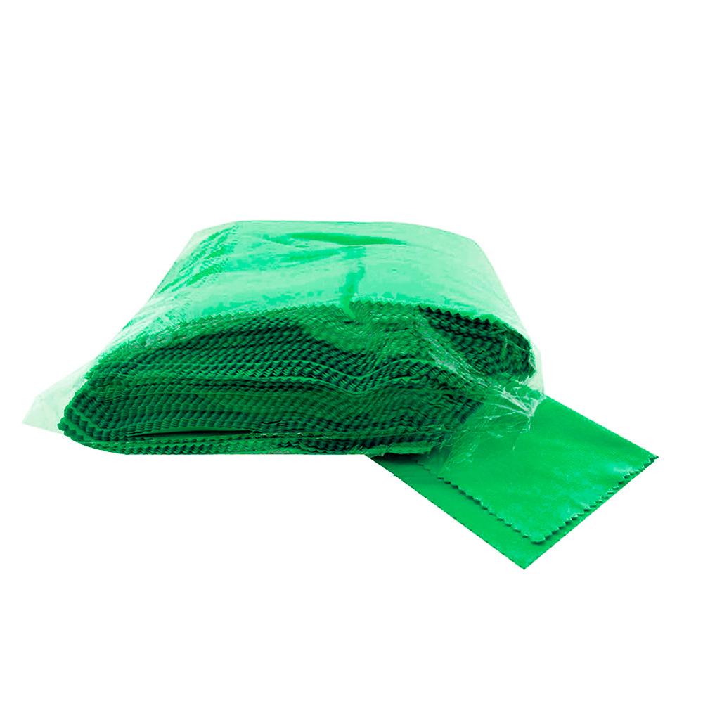 Flanela para Limpeza de Óculos em Microfibra 1234FM Verde com 100 Unidades