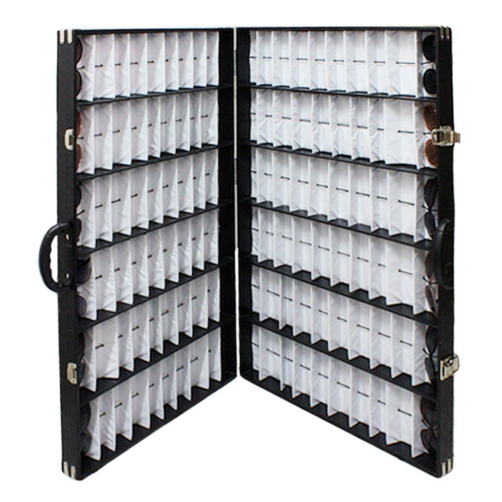 Maleta Expositora Dupla para 120 Óculos com Alça e Abertura Vertical PDS2120C Preta
