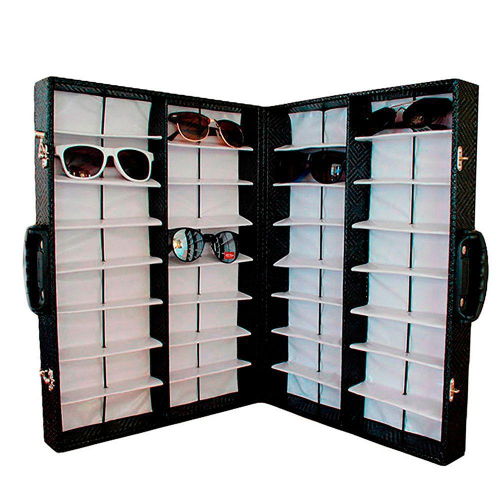 Maleta Expositora Dupla para 32 Óculos com Alça MS32C Preta