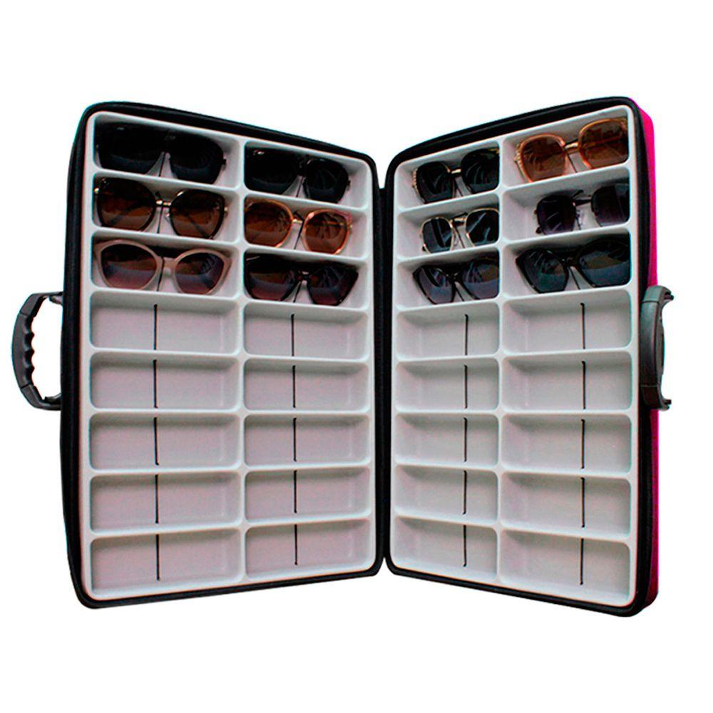 Maleta Expositora Dupla para 32 Óculos em EVA com Alça Regulável MALA EVA Rosa
